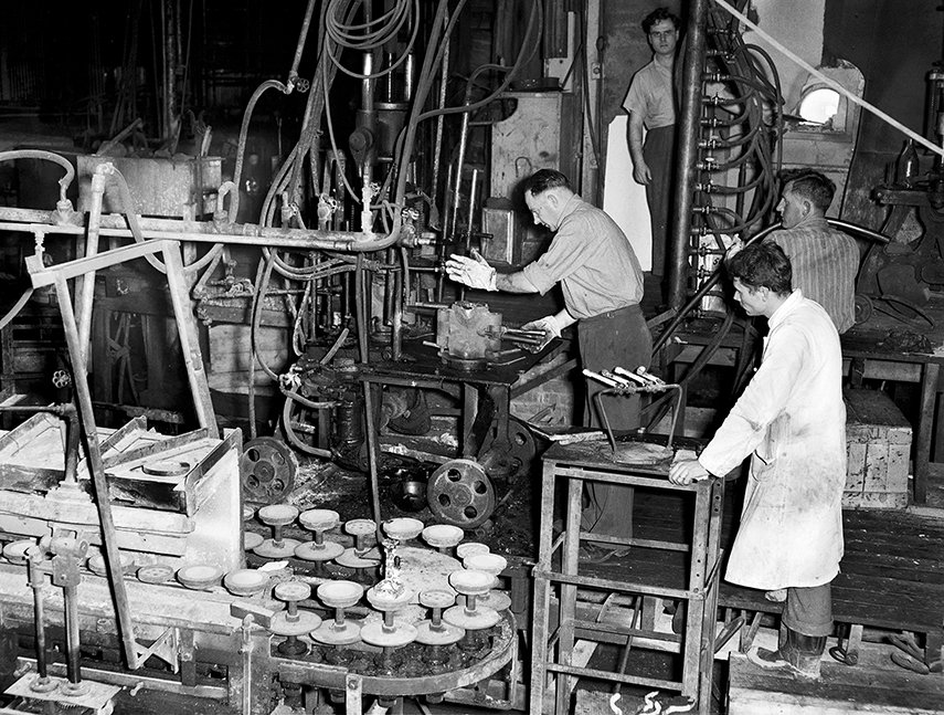 Using the press, Crown Crystal Glass Works, Christchurch
